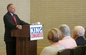 Steve King makes a campaign speech in Mason City in 2012.