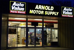 Arnold Motor Supply with shattered front window