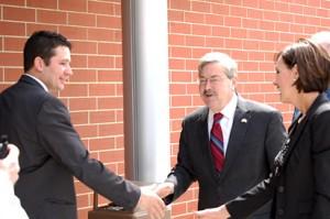 Governor Branstad (middle) and Lt. Governor Kim Reynolds are greeted by legislator Josh Byrnes.