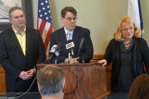 Democratic Leaders, from left to right: House Democratic Leader Kevin McCarty of Des Moines, Senator Majority Leader Mike Gronstal of Council Bluffs, and Senate President Pam Jochum of Dubuque.