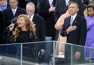 U.S. President Barack Obama watches Beyonce sing the National Anthem after he is sworn-in for a second term by Supreme Court Chief Justice John Roberts during his public inauguration ceremony at the U.S. Capitol Building in Washington, D.C. on January 21, 2013. President Obama was joined by First Lady Michelle Obama and daughters Sasha and Malia. UPI/Kevin Dietsch