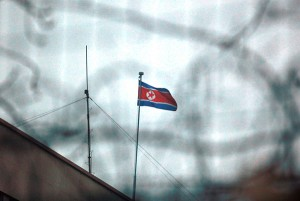 The North Korean flag flies outside its embassy in Beijing.