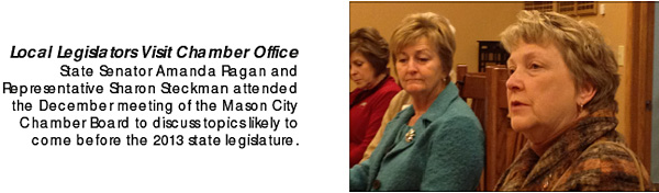 A screenshot from the publicly-viewable Chamber of Commerce newsletter from January of 2013.