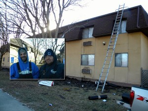 Tim and Anthony Shutt, roofers working in Mason City