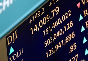 The Dow Jones Industrial Average sits above the 14,000 mark earlier in 2013.      UPI/John Angelillo