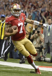 San Francisco 49ers quarterback Colin Kaepernick scores on a 15-yard run against the Baltimore Ravens during the fourth quarter of Super Bowl XLVII at the Mercedes-Benz Superdome on February 3, 2013 in New Orleans. UPI/Kevin Dietsch