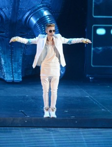 Canadian singer Justin Bieber performs at O2 Arena in London on March 4, 2013. UPI/ Rune Hellestad