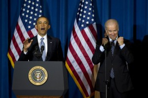 President Barack Obama delivers remarks alongside Vice President Joe Bidenprior to signing the Violence Against Women Act, at the Interior Department on March 7, 2013. The law strengthens the criminal justice system's response to crimes against women, including domestic violence, sexual assault and trafficking. UPI/Kevin Dietsch