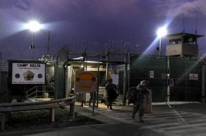 Soldiers exit a sally port after completing a 12-hour shift at Camp Delta, Guantanamo Bay. UPI/Michael R. Holzworth/U.S. Air Force