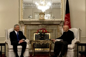 Secretary of Defense, Chuck Hagel, meets with Afghan president Hamid Karzai, March 10, 2013. Hagel is traveling to Afghanistan on his first trip as the 24th Secretary of Defense to visit U.S. Troops, NATO leaders, and Afghan counterparts. UPI/Erin A. Kirk-Cuomo/DOD