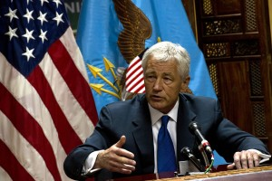 Secretary of Defense, Chuck Hagel, briefs the press, in Kabul, Afghanistan, March 10, 2013. UPI/Erin A. Kirk-Cuomo/DOD