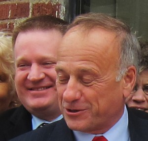 Steve King in Mason City with his friends