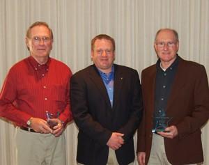 Award winners Dennis Wilson, and Cliff Hagman with Mayor Eric Bookmeyer (center)