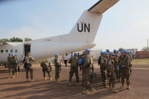 Some 39 peacekeepers from the UNMISS Mongolian Battalion based in Rumbek, South Sudan, arrived in Bentiu on 30 December 2013 to reinforce UN presence in Unity state. Photo: UNMISS/Anna Adhikari