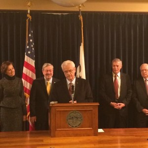 Congressman Leonard Boswell, Casey's CEO Bob Myers and Principal Financial Group CEO Larry Zimpleman join Gov. Branstad and Lt. Gov. Reynolds in announcing the Iowa Business Council's pledge of 2,500 jobs for veterans! #iagov #ialegis