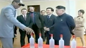 Dennis Rodman shows Kim Jung un his new line of vodka.
