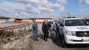 Special Coordinator of the Joint Mission of the OPCW and the UN Sigrid Kaag (second left) inspecting preparations for the elemination of chemical weapons at the Syrian Port of Latakia in December 2013. Photo: OPCW-UN Joint Mission