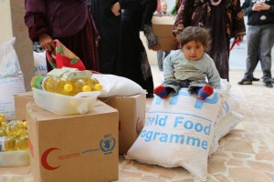 A little girl waits during the food distribution. Photo: WFP/Dina El-Kassaby