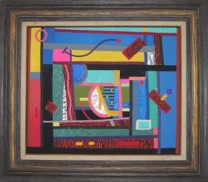 Image: Sioux Lawton, Haitian Reverie, framed fiber collage