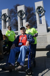 Army Air Corps veteran Dick Tobin visits the World War II Memorial in Washington, D.C., April 5, 2014. He was accompanied on the Honor Flight from Syracuse by his daughter Cheryl Tobin, April 5, 2014.