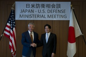 Secretary of Defense Chuck Hagel and Japanese Minister of Defense Itsunori Onodera pose for an official photo before a meeting in Tokyo, April 6, 2014. Hagel and Onodera met in Japan to discuss issues of mutual importance. DOD Photo by Erin A. Kirk-Cuomo