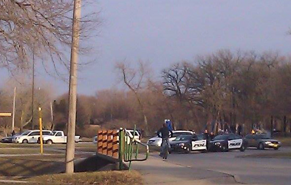 MCPD and Iowa State Patrol at East Park on April 9, 2014, following reports of disturbances