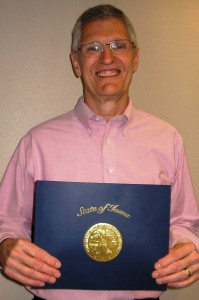 Stu Vold of Mason City received a Governor's Volunteer Award at a ceremony Monday in Cedar Falls for his service as a Reading Buddy at Roosevelt Elementary School in Mason City. (Photo from NIACC.edu)