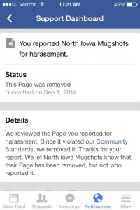 """Sent to NIT by man who complained about """"mugshots"""" page."""