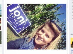 """Screenshot of Gretchen Hamel's Facebook """"wall"""" ... she is posing with an Ernst campaign sign"""