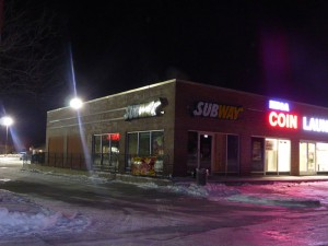 Northeast view of the strip mall
