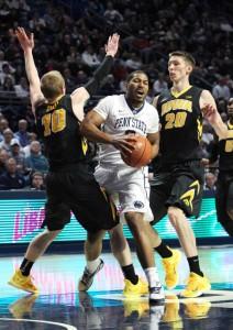 Penn State guard D.J. Newbill (2) drives the ball to the basket (Matthew O'Haren-USA TODAY Sports)