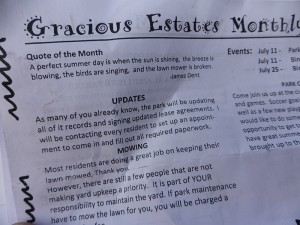 """A Gracious Estates """"newsletter"""" recently distributed to residents"""