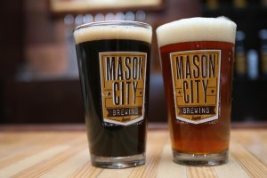 In addition to four regular house beers, Mason City Brewing rotates in four taps of new seasonal beers including these brews produced for St. Patrick's day - an Irish Stout and and Irish Red Ale.