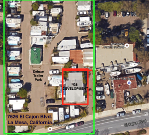 7626 El Cajon Blvd. in La Mesa, California, home of G8 Development and Deluxe Trailer Park (Click graphic to view larger)