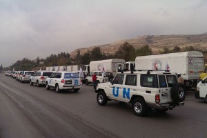 A humanitarian convoy on its way to the besieged Syrian town of Madaya. Photo: OCHA Syria