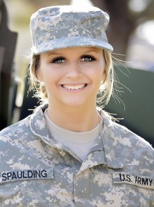 Cheney M. Spaulding, 18, of Fort Dodge, Iowa, enlisted in September 2015 as a survey meteorological crewmember, becoming the first woman to enlist in an Iowa National Guard combat arms unit.