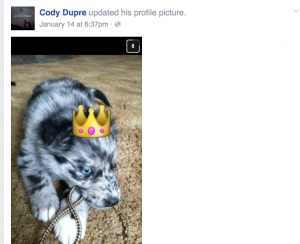"Publicly viewable via Facebook: ""Julie Thorpe Ballantine - Go cuddle with your puppy...how adorable.... Cody Dupre -  .....you don't know how badly I wish I could, but I can't,zz Like · Reply · January 14 at 9:21pm"" (sic)"
