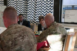 Senator Joni Ernst (R-IA) discusses military quality of life issues and state legislation with soldiers from the 20th Engineer Brigade during a breakfast at the unit's dining facility on Fort Bragg Jan. 5.