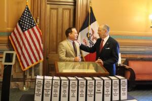 Grassley turns in 7 binders of signatures (Facebook photo)