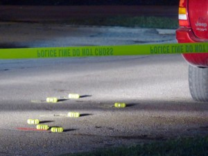 Casings in the street marked for evidence