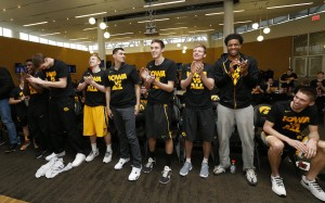 The Iowa Hawkeyes react as their name is called during the 2016 NCAA Men's Basketball Tournament Selection Show Sunday, March 13, 2016 at Carver-Hawkeye Arena. (Brian Ray/hawkeyesports.com)