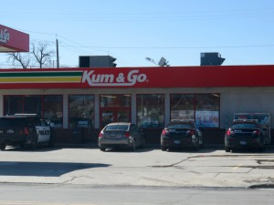 Police arrived at Kum & Go central in Mason City Monday afternoon to investigate