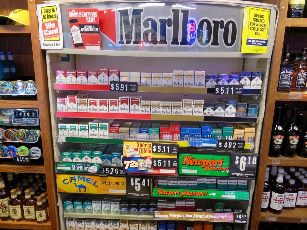 Cigarette display at New Don Liquor and Tobacco