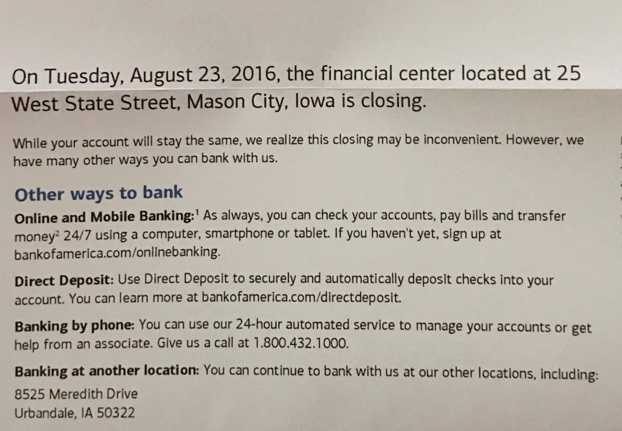 Bank Of America Closing Mason City Branch Due To Stale
