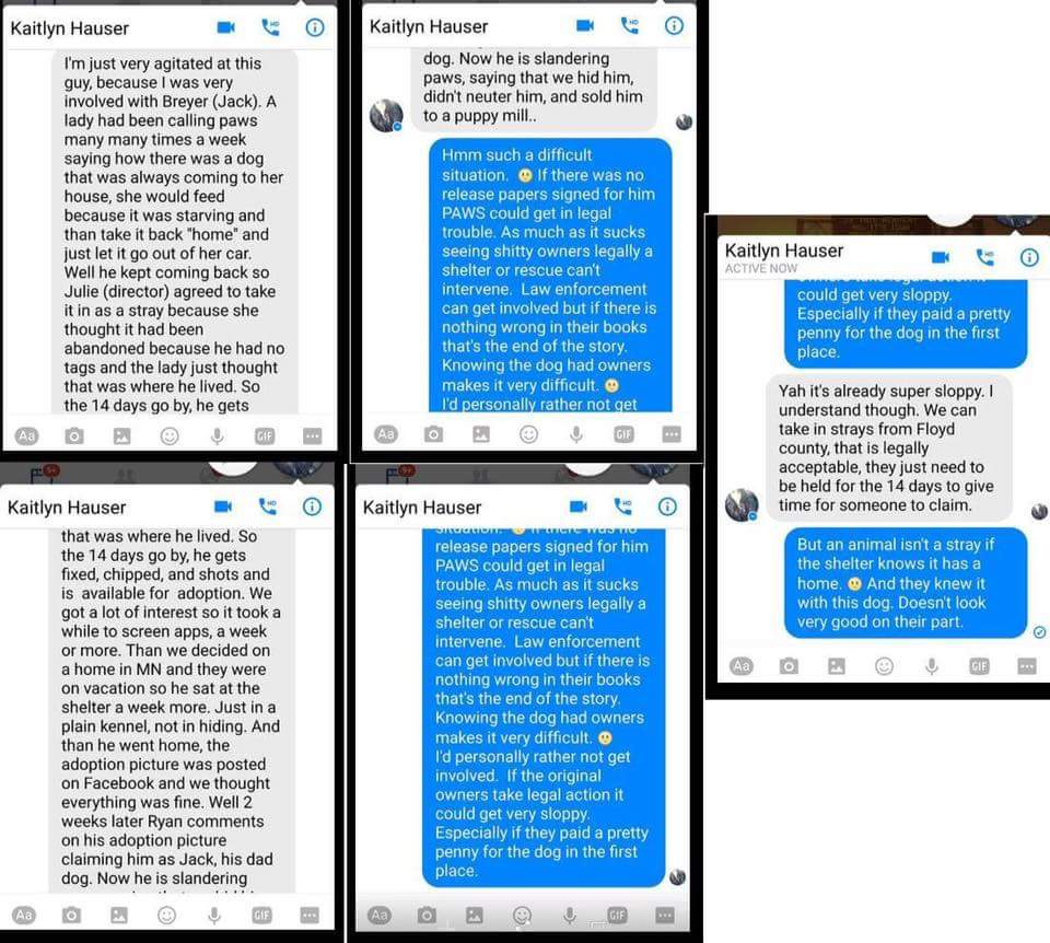 Alleged conversation with a PAWS volunteer