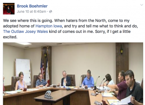 Facebook screenshot of Brook Boehlmer's remarks (click image to view larger)