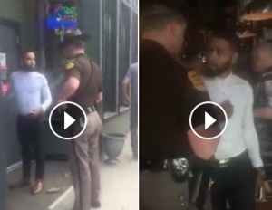 Screenshot of video posted to social media by Kadara Brown, showing the altercation between Brown and a state trooper
