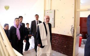 The President,Ashram Ghani, and the First Lady of the Islamic Republic of Afghanistan visit the American University of Afghanistan.