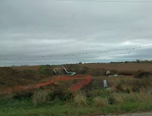 Uncompleted DAPL along IA Hwy 34, 1 mile east of Batavia. (Facebook photo from Mississippi Stand)