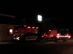 Police and ambulance at the scene early Saturday (submitted photo)